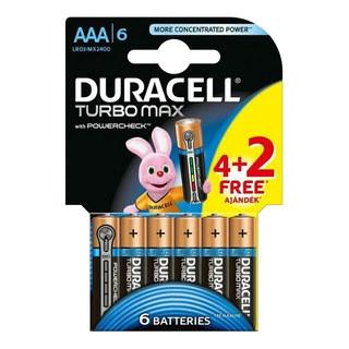 Duracell Turbo Max Alkaline Batterien LR03/AAA Micro | 1,5 Volt Spannung, 6 Stk.
