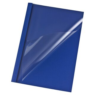 Thermobindemappen A4,  3mm für 30 Blatt, Leinengeprägt dunkelblau,  50 Stk.