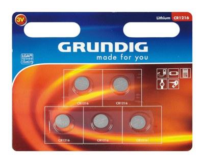 Grundig CR1220 40mAh Lithium Knopfzelle Rundzelle   3 Volt, 5 Stk.