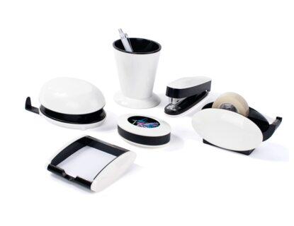 PAVO trendiges Schreibtischset, 6-teilig, Hochglanz schwarz/weiß