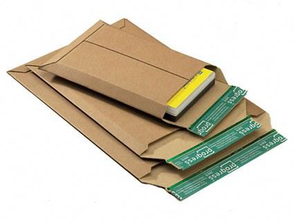 Wellpappe-Versandtasche W01.01, 150x250x -50mm,  stabil, für DVD/Blu-Ray, braun