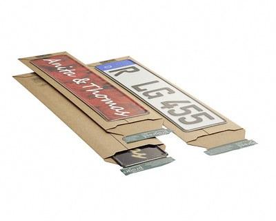 Wellpappe- Versandtasche W01. K1 für Kfz- Kennzeichen und Schilder 145x600x-55mm