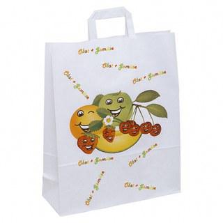 1-PACK Papiertragetaschen mit Motiv Obst und Gemüse 320+120x400mm, weiß