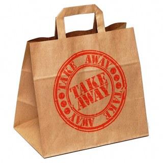 1-PACK Papiertragetaschen mit Motiv Fastfood TAKE AWAY, 260+170x250mm  90 gr.