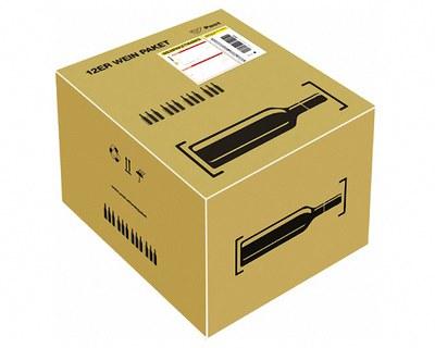 Post Prepaid Wein Paket für 12 Flaschen Wein Most, Säfte, Flaschenhöhe max 355mm