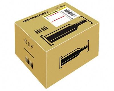 Post Prepaid Wein Paket für  6 Flaschen Wein Most, Säfte, Flaschenhöhe max 355mm