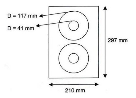 CD/DVD Label Etiketten classic 117/41 mm DIN A4 Standard, 100 Stk.