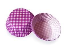 Muffinkapseln Gebäckkapseln KARO violett Ø 50 x 30 mm, 40 Stk.