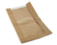 Papierfaltenbeutel für Kleingebäck 15 + 6 x 29 cm, mit Fenster 10cm, 1000 Stk.