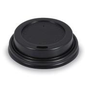 Domdeckel schwarz für Pappbecher und EPS-Thermobecher mit Ø 73mm, 100 Stk.