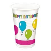 Party-Trinkbecher 200ml,  bunt - Design HAPPY BIRTHDAY, 10 Stk.