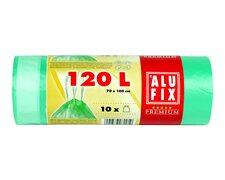 ALUFIX Müllsäcke mit Zugband 120L, HDPE 70x100cm 21my, grün transparent, 10 Stk.