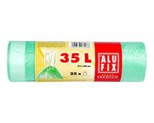 ALUFIX Müllsäcke mit Zugband 35L, HDPE 53x60 cm 15my, grün transparent, 25 Stk.