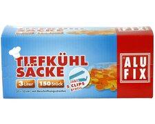 ALUFIX Tiefkühlsäcke, 3 Liter, 25x32 cm, mit 5 Verschlussklips, 150 Stk.