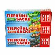 ALUFIX Tiefkühlsäcke Gefrierbeutel Mix mit Verschlussclips 1 L 3 L 6 L, 105 Stk.