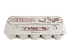 Eierverpackungen für 10 Eier weiß mit Aufdruck 10 frische Eier, 154 Stk.