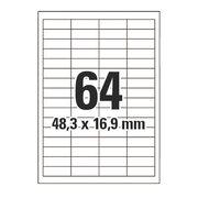 Etiketten Labels selbstklebend weiß 48.3 x 16.9mm auf DIN A4, 6400 Stk.