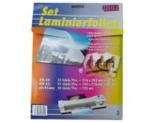 FILUX Laminierfolien Set A4, A5 und Visitenkartengrösse, 100 Stk.
