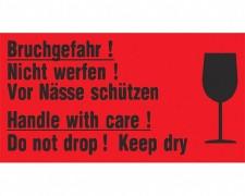 Hinweisetiketten Rot Handle With Carevorsicht Glas