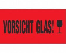 Hinweisetiketten Warnetiketten rot VORSICHT GLAS!, 145x76mm, 1000 Stk.