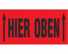 Hinweisetiketten rot HIER OBEN mit 2 Pfeilen, 145x76mm, 1000 Stk.