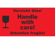 Hinweisetiketten rot HANDLE WITH CARE!/VORSICHT GLAS, 145x76mm, 1000 Stk.