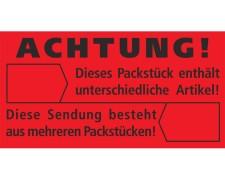 Hinweisetiketten rot ACHTUNG! UNTERSCHIEDLICHE ARTIKEL, 145x76mm, 1000 Stk.
