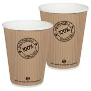 BIO Thermo-Riffelbecher CoffeeToGo PLA bis 100°C  | 250ml, Ø9cm, 25 Stk.