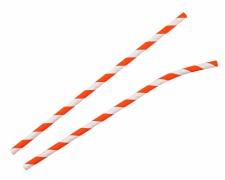 Papiertrinkhalme mit Knick gestreift orange-weiß, bis 20 cm Ø 6 mm, 100 Stk.