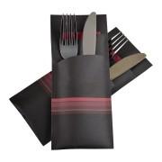 Pochetto Bestecktaschen 200x85mm rot bordeau Streifen inkl. Serviette, 520 Stk.