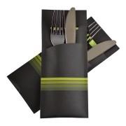 Pochetto Bestecktaschen 200x85mm schwarz limette Streifen Serviette,  50 Stk.