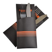 Pochetto Bestecktaschen 200x85mm orange Streifen inkl. Serviette, 520 Stk.