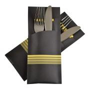 Pochetto Bestecktaschen 200x85mm gelbe Streifen inkl. Serviette, 520 Stk.
