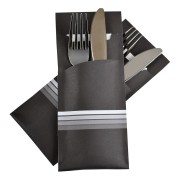 Pochetto Bestecktaschen 200x85mm weiße Streifen inkl. Serviette weiß, 520 Stk.