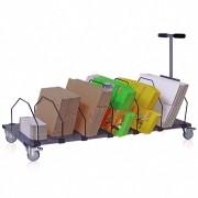 Kartonmagazin fahrbares Regal mit Rollen für Kartons, 6 Fächer, Transportgriff