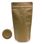 Standbodenbeutel Kraftpapier braun mit Aromaschutzventil 250x340x130mm, 500 Stk.