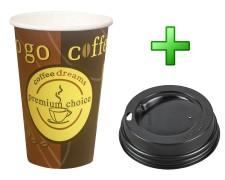 Kaffeebecher Coffee ToGo COFFEE DREAMS mit Deckel schwarz 12oz. 300 ml, 100 Stk.
