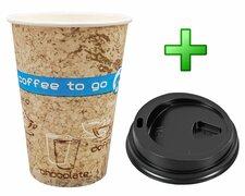 Kaffeebecher Coffee ToGo DREAMS mit Deckel schwarz 300 ml hoch + schmal 100 Stk.