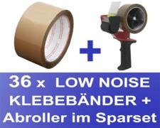 36 Stk. Packband Klebeband OPP-909NN 50mmx66m, Low Noise braun + Abroller