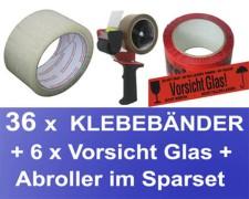 36x Klebeband 50mmx66m, LowNoise transparent + 6x Vorsicht Glas + Abroller