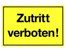 Gebotsschild gelb Zutritt verboten - 300x200mm