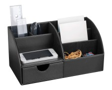 PAVO edler Schreibtischorganizer schwarz 6 separate Fächer Kunstleder 30x15x15cm