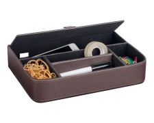 PAVO Premium Schreibtischorganizer 5 separate Fächer Kunstleder braun