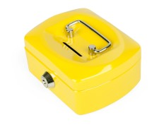 Geldkassette Spardose mit Sparschlitz mit entnehmbaren Münzfach 125 mm, gelb