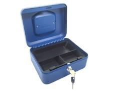 Geldkassette aus robustem Stahl mit herausnehmbaren Münzfächern 200 mm,  blau