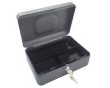 Geldkassette aus robustem Stahl mit herausnehmb. Münzfächern 250 mm, dunkelgrau