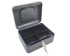 Geldkassette aus robustem Stahl mit herausnehmb. Münzfächern 200 mm, dunkelgrau