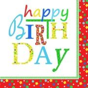 Motivservietten 3-lagig 33x33 cm Geburtstagsservietten Happy Birthday 20 Stk.