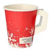 Henkelbecher Kaffeebecher rot, Wintertime Schneeflocke, 200 ml,  50 Stk.