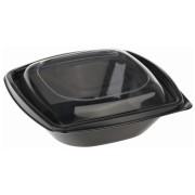 BIO Salatschalen mit Deckel aus Bio-Kunststoff (PLA) schwarz 480 ml, 40 Stk.